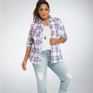 Torrid Plaid Camp Shirt - Size 0X